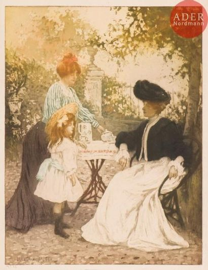 Manuel Robbe (1872-1936) La Tasse de thé. 1906. Aquatinte. 378x495. Impression...