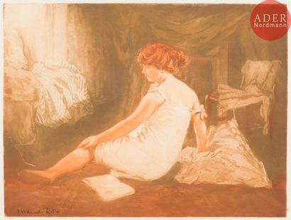 Manuel Robbe (1872-1936) Le Déshabillé. 1909. Aquatinte. 490x365. Impression en...