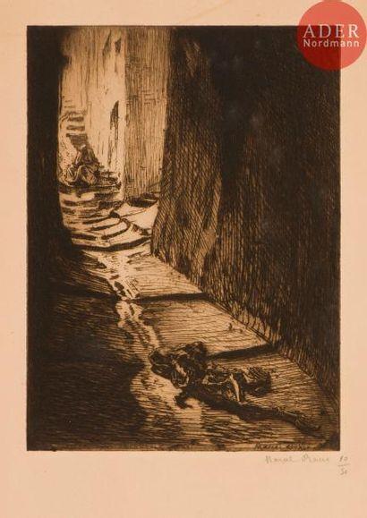 Marcel Roux (1878-1922) Carcasse dans la ruelle. Eau-forte. 179x244. Belle épreuve...
