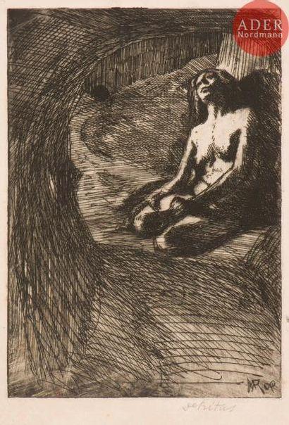 Marcel Roux (1878-1922) Détritus. Vers 1909. Eau-forte. 180x269. Très belle et...