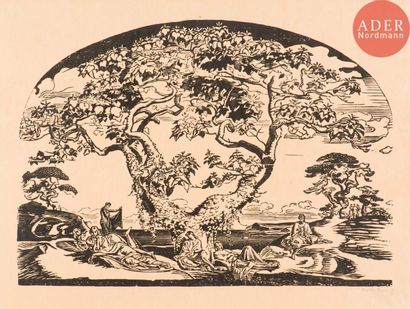 Marcel Roux (1878-1922) Allégorie de l'harmonie. Bois gravé (cintré par le haut)....