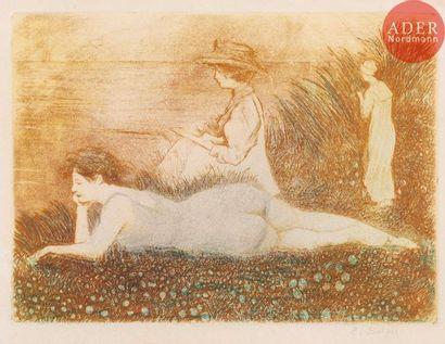 Émile-Jean Sulpis (1856-1942) Trois femmes au bord de l'eau. Eau-forte. 210x152....
