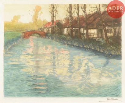 Frits Thaulow (1847-1907) Rivière. Vers 1897....