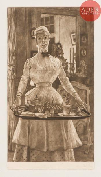 James-J.-J. Tissot (1836-1902) Le Matin. 1886. Manière noire. 261x489. Wentworth...