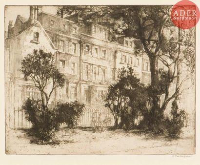 Sidney Tushingham (1884-1968) Cheyne Walk, Chelsea. Eau-forte. 286x221. Très belle...