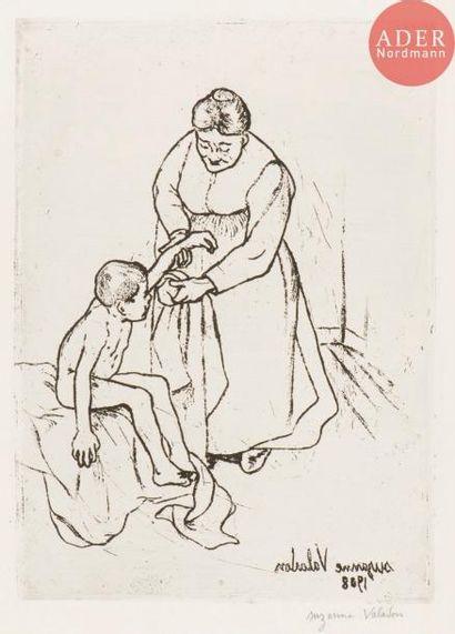 Suzanne Valadon (1865-1938) Grand-mère et enfant. 1908. Eau-forte et vernis mou....