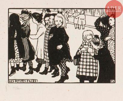Félix Vallotton (1865-1925) Les Petites filles. 1893. Bois gravé. 200x 140. Vallotton...