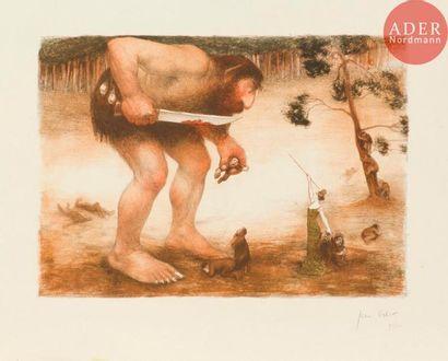 Jean Veber (1864-1928) Le Géant. 1905. Lithographie. 340x240. Veber et Lacroix...
