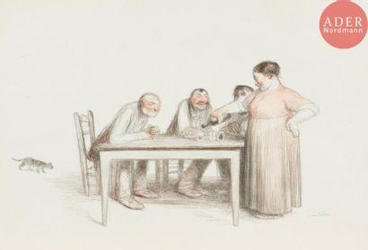 Jean Veber (1864-1928) Le Verre de vin. 1905. Lithographie. 280x155. Veber et...