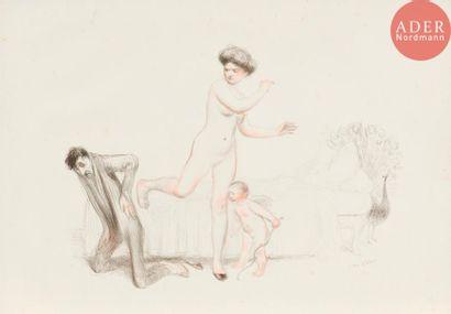 Jean Veber (1864-1928) Le Coup de pied de Vénus. 1910. Lithographie. 330x245....