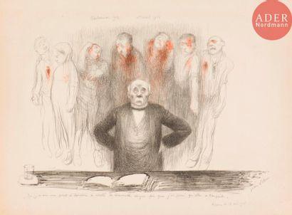 Jean Veber (1864-1928) Clemenceau à la tribune. 1908. Lithographie. 400x270. Veber...