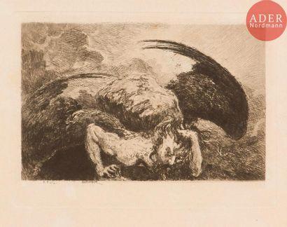Eugène Viala (1859-1913) Saturnien. Eau-forte....