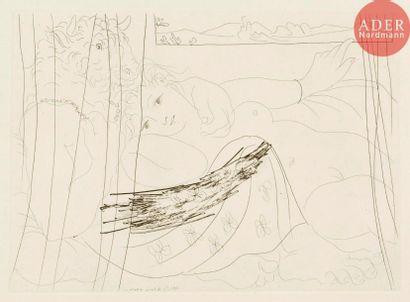 Pablo Picasso (1881-1973) Minotaure et femme...