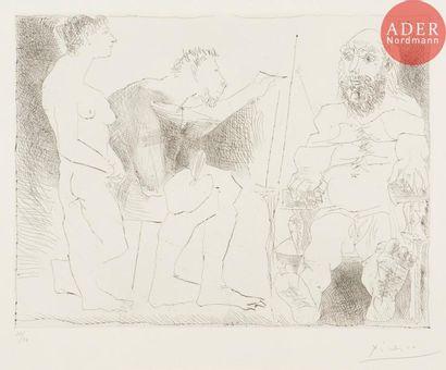 Pablo Picasso (1881-1973) Peintre avec un...