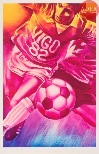 Jacques Monory (né en 1924) Football. Sérigraphie...