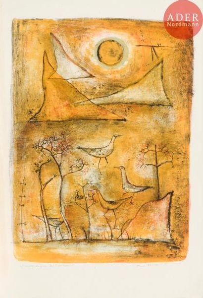 Zao Wou-Ki (1920-2013) Montagnes et oiseaux....