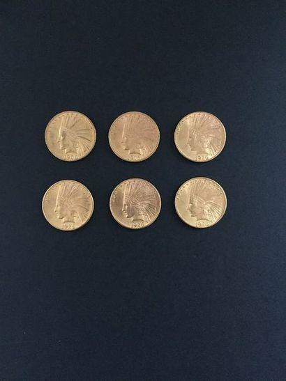 6 pièces de 10 Dollars en or. Type Indian...