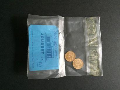 2 pièces de 20 Francs en or dans un sachet...