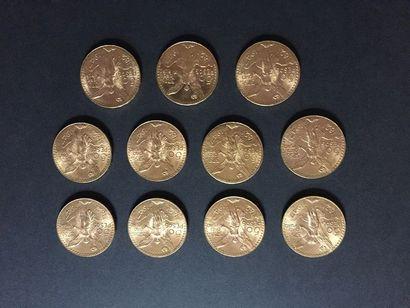 11 pièces de 50 Pesos en or dans un sachet...