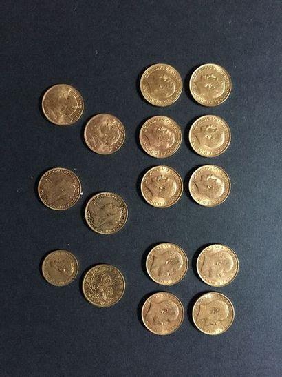 16 pièces en or dans un sachet numéroté 2017057...