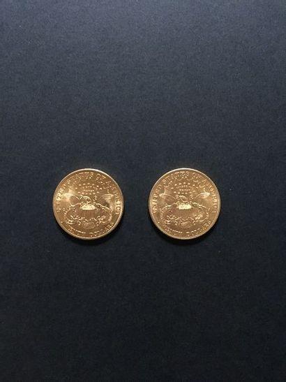 2 pièces de 20 Dollars en or dans un sachet...