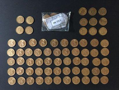 78 pièces de 20 Francs en or dans un sachet...
