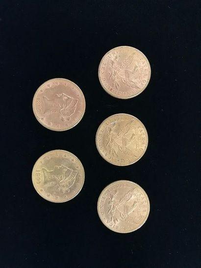 5 pièces de 10 Dollars en or. Type Liberty...