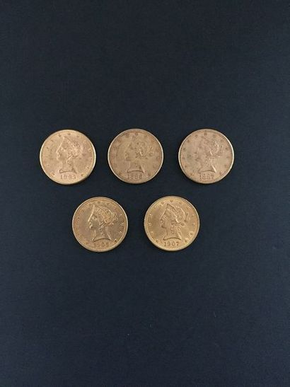 5 pièces de 10 Dollars en or. Type Liberty....