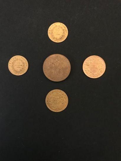 Lot de 4 pièces en or: - 1 pièce 20 Francs...