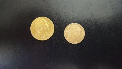 Lot de deux pièces en or françaises: - 20...