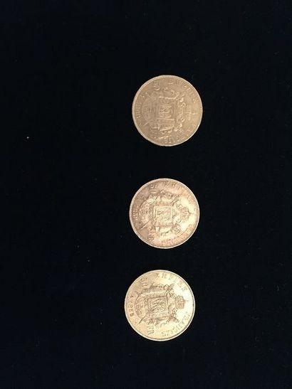 3 pièces 50 Francs en or. - 2 pièces Type...