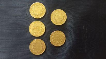 5 pièces de 40 Francs en or. Napoléon 1er....