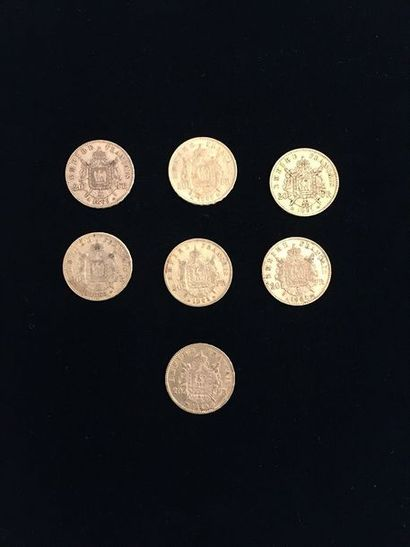 7 pièces 20 Francs en or. Type Napoléon III...