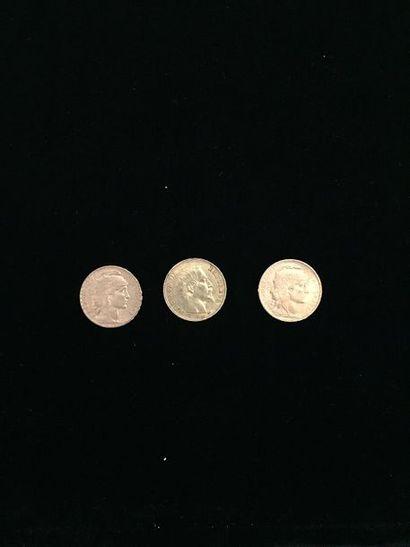3 pièces 20 Francs en or : - 2 pièces Type...