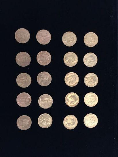 20 pièces 20 Francs en or. - 1 pièce Type...