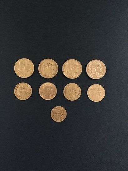 Lot de 9 pièces en or : - 2 pièces de 20...