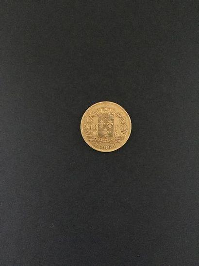 Une pièce de 40 francs en or. Louis XVIII....