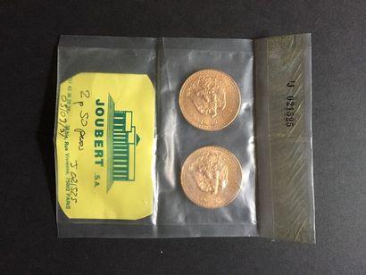 2 pièces de 50 pesos en or dans un sachet...