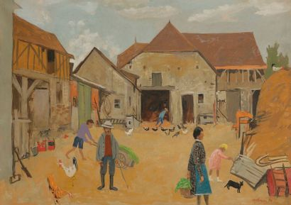 Grégoire MICHONZE (1902-1982) Cour de ferme,...