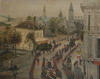ÉCOLE NAÏVE vers 1900 L'Enterrement militaire...