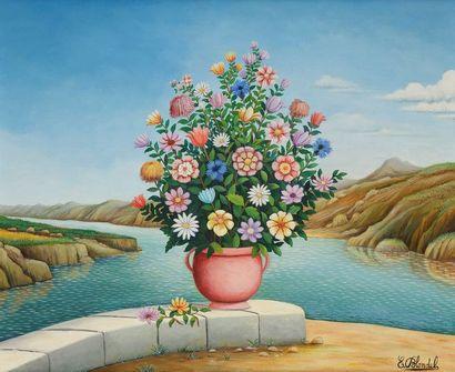 Émile BLONDEL (1893-1970) Vase de fleurs...
