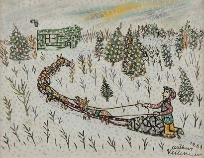 Arthur VILLENEUVE (1910-1990) Le Traîneau,...