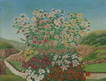 André BAUCHANT (1873-1958) Fleurs dans un...