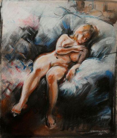 André BARELIER (né en 1934) Nu endormi Pastel....