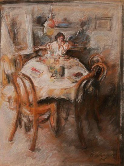 André BARELIER (né en 1934) Scène d'intérieur...