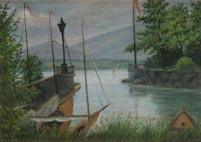 C. BARTHOLONI (XIXe-XXe siècle) Bord du lac...