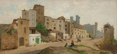 Eugène BAUDOUIN (1842-1893) Rue de village...