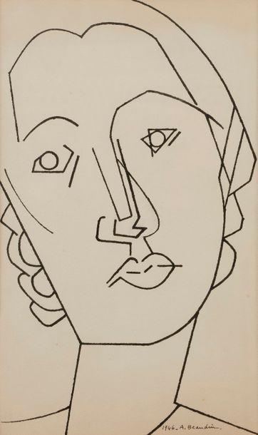 André BEAUDIN (1895-1979) Visage de femme,...
