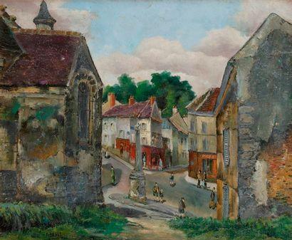 Raymond BESSE (1899-1969) Route dans Longjumeau...