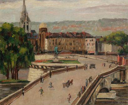 Antoine BLANCHARD (1910-1988) Rouen, le pont...
